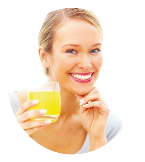 Smiling woman with glass of Liquid C + Bioflavonoids with Rose Hips