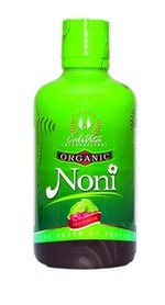 bottle of organic noni juice